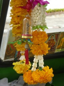 offerings inside taxi